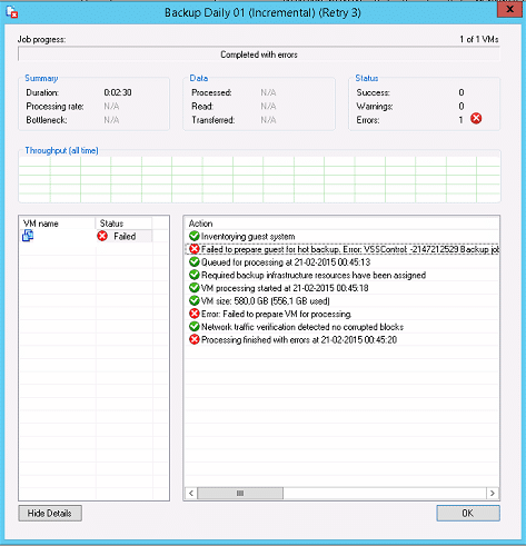 Veeam VSS error: VSS_E_UNEXPECTED_PROVIDER_ERROR  Code:0x8004230f