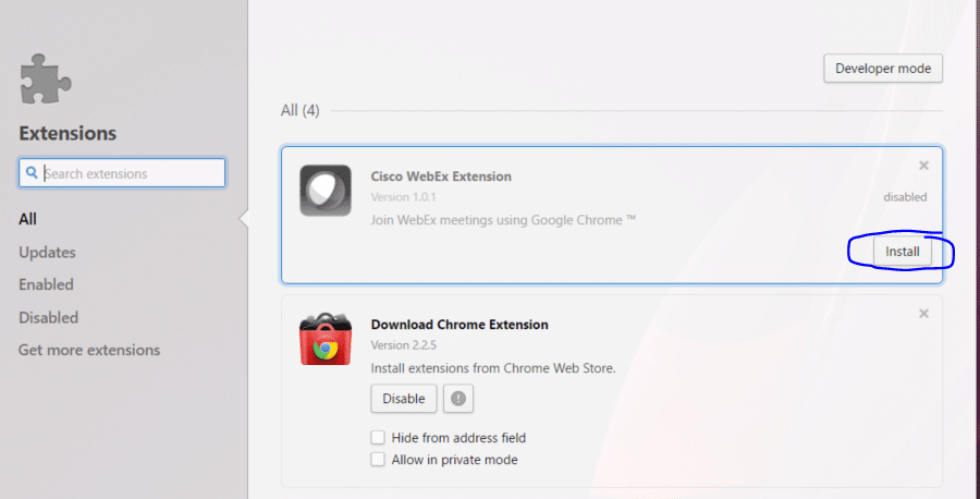 Enable Cisco WebEx Extension